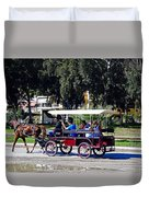 A Carriage Ride Through The Streets Of Katakolon Greece Duvet Cover