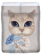 A Cat With A Blue Flower Duvet Cover