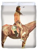 A Cheyenne Brave Duvet Cover by Frederic Remington