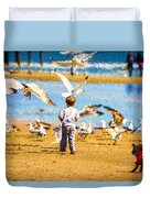 A Child At The Beach Isle Of Palms Sc Duvet Cover