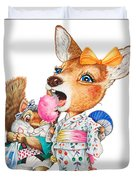 A Child Deer And Squirrel At The Summer Festival Duvet Cover