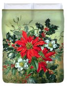 A Christmas Arrangement With Holly Mistletoe And Other Winter Flowers Duvet Cover