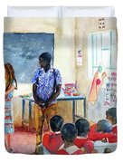 A Classroom In Africa Duvet Cover