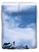 A Climber On The Airy Traverse Duvet Cover