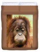 A Close Portrait Of A Sad Young Orangutan Duvet Cover