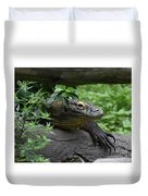 A Close Up Look At A Komodo Dragon Lizard Duvet Cover