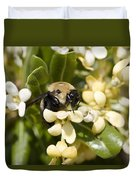 A Close View Of A Bumblebee Pollinating Duvet Cover