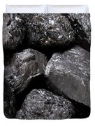 A Close View Of Coal Ready For Burning Duvet Cover