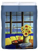 A Coastal Window Lighthouse View Duvet Cover