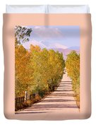 A Colorful Country Road Rocky Mountain Autumn View  Duvet Cover