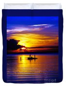 A Colorful Golden Fishermen Sunset Vertical Print Duvet Cover
