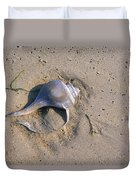 A Conch Shell Lies In The Sand Duvet Cover