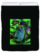 A Cosmic Owl In A Psychedelic Forest Duvet Cover