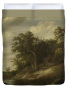 A Cottage Among Trees On The Bank Of A Stream Duvet Cover