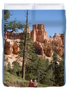 A Couple Hikes Along A Trail In Bryce Duvet Cover