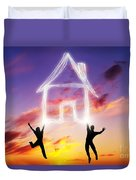 A Couple Jump And Make A House Symbol Of Light Duvet Cover