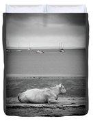 A Cow On The Beach Duvet Cover