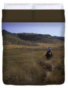 A Cowboy Looks For His Herd Duvet Cover