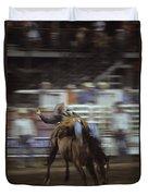 A Cowboy Rides A Bucking Bronco Duvet Cover