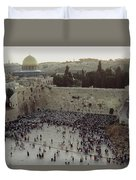 A Crowd Gathers Before The Wailing Wall Duvet Cover