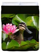 A Curious Duck And A Water Lily Duvet Cover