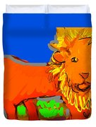 A Curious Lion Duvet Cover