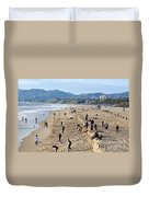 A Day At The Beach In Santa Monica Duvet Cover