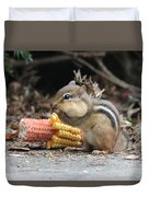 A Delicious Treat - Chipmunk Eating Corn Duvet Cover
