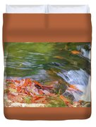 Flowing Water Fall Leaves Closeup Duvet Cover
