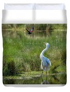 A Disagreement At The Pond Duvet Cover