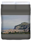 A Distant View Cefalu Sicily Duvet Cover