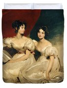 A Double Portrait Of The Fullerton Sisters Duvet Cover by Sir Thomas Lawrence