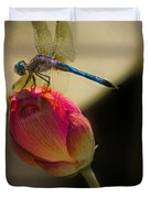 A Dragonfly Rests Momentarily On A Lotus Bud Duvet Cover