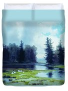 A Dreary Day At The Pond Duvet Cover