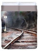 A Dreary Day On The Rail Line Duvet Cover