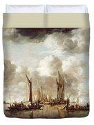 A Dutch Yacht Firing A Salute As A Barge Pulls Away Duvet Cover