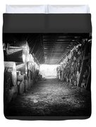 Farmer's Woodpile At Lusscroft Farm In Black And White Duvet Cover