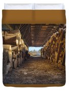 Woodpile At Lusscroft Farm In Color Duvet Cover