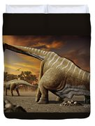 A Female Apatosaurus Laying Her Eggs Duvet Cover