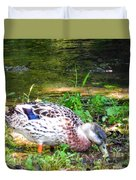A Female Mallard Duck Is See Searching For Food 1 Duvet Cover