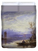 A Ferry At Sunset Duvet Cover
