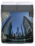 A Fisheye View Of The Chicago Skyline As You Appraoch Wolf Point Duvet Cover