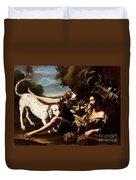 A Flask-bearer Surprised By Two Dogs In A Landscape Duvet Cover