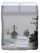 A Fleet Of Ships In Formation At Sea Duvet Cover