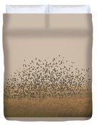 A Flock Of Birds Swarming A Field Duvet Cover