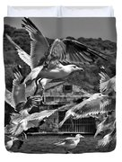 A Flock Of Seagulls Flying High To Summer Sky Duvet Cover