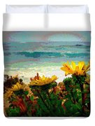 A Flowery View Of The Surf Watercolor Duvet Cover