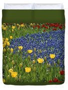 A Garden Of Colorful Tulips And Grape Duvet Cover