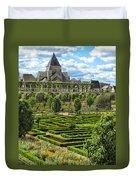 A Garden View At Chateau De Villandry Duvet Cover