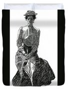 A Gibson Girl With Parasol Duvet Cover